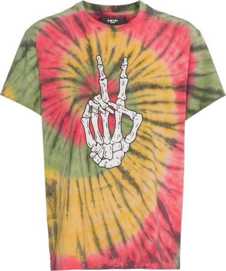 Amiri Tie Dye Skeleton Peace Hand T Shirt