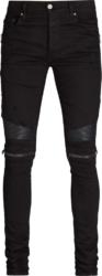 Amiri Tonal Zip Black Biker Jeans