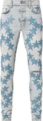Amiri Vintage Sky Indigo And Light Blue Star Jeans