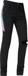 Amiri Watercolor Half Track Black Jeans
