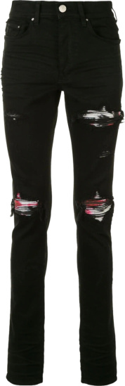 Amiri Watercolor Underpatch Black Mx1 Jeans