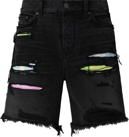 Amiri Watercolor Underpatch Black Thrasher Shorts