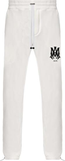 Amiri White And Black Ma Bones Logo Embroidered Sweatpants