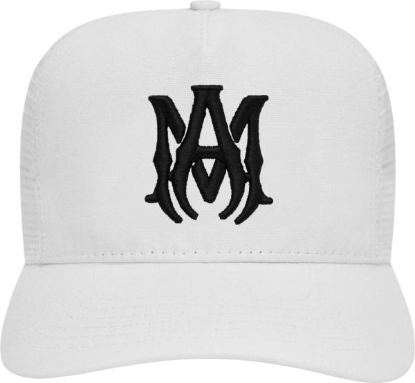 Amiri White And Black Ma Logo Trucker Hat