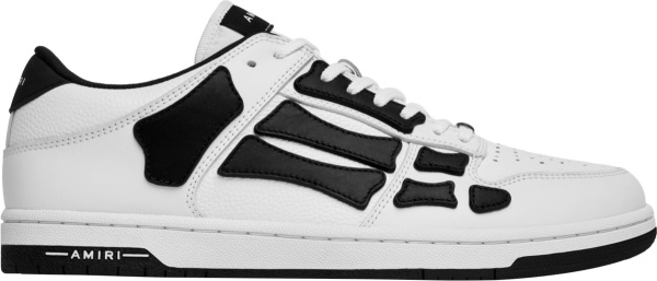 Amiri White And Black Skeleton Bone Patch Low Top Sneakers