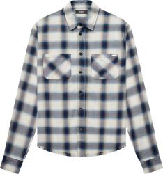 Amiri White And Blue Flannel Logo Shirt