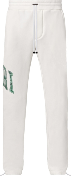 Amiri White And Green Varsity Logo Bandana Sweatpants