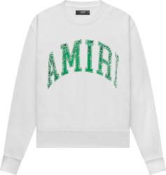 Amiri White And Green Varsity Logo Bandana Sweatshirt