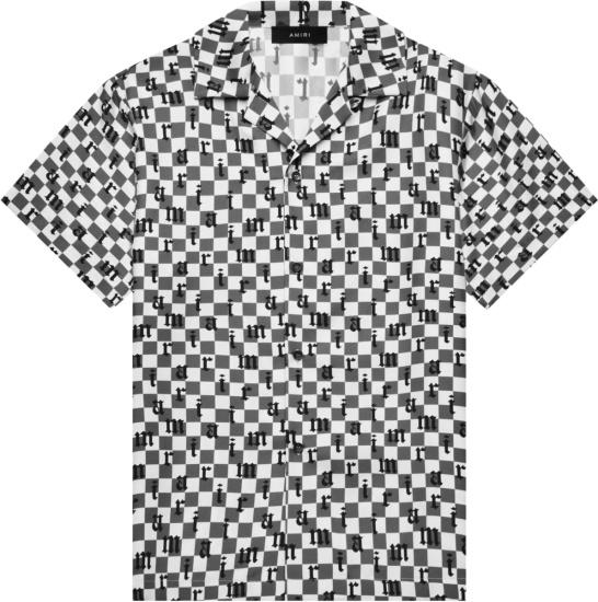 Amiri White And Grey Checkerboard Logo Bowling Shirt