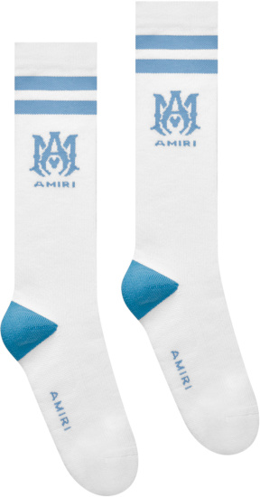 Amiri White And Light Blue Ma Logo Socks