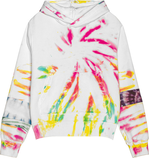 Amiri White And Multicolor Tie Dye Art Patch Hoodie