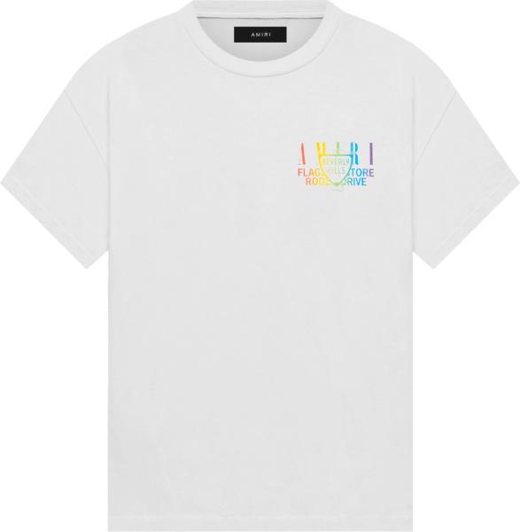 Amiri White And Rainbow Beverly Hills T Shirt