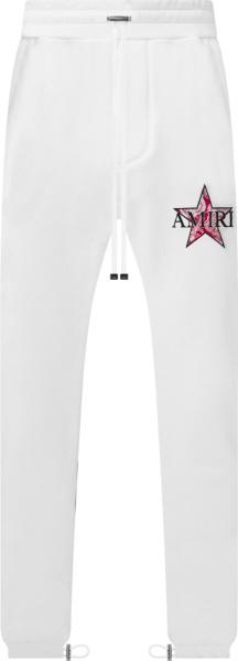 Amiri White And Red Paisley Star Logo Sweatpants