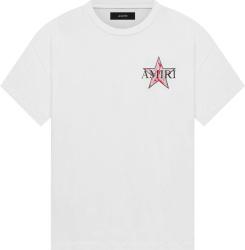 Amiri White And Red Paisley Star T Shirt