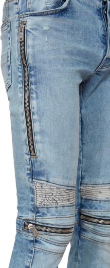 Amiri White Bandana Zip Detail Light Wash Biker Jeans