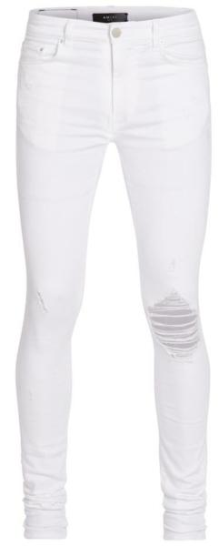 Amiri White Broken Skinny Jeans