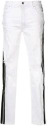 Amiri White Distressed Skinny Jeans With Black Side Stripes