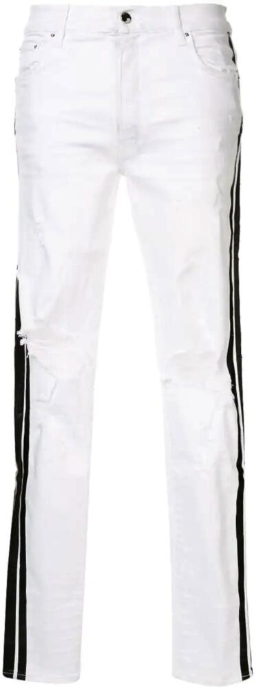 Amiri White Distressed Skinny Jeans With Black Side Stripes
