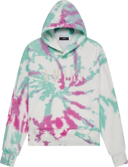 Amiri White Green And Pink Tie Dye Core Logo Hoodie