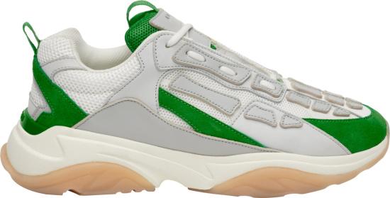 Amiri White Grey And Green Bone Runner Sneakers