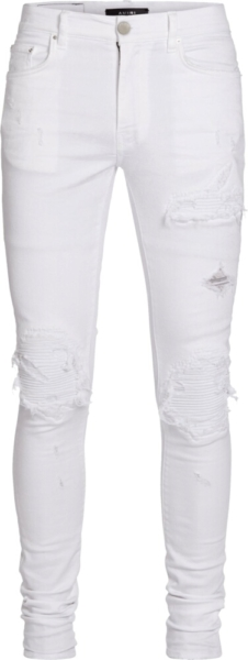 Amiri White Leather Underpatch Distressed Jeans