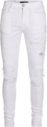 White Ribbed Underpatch 'MX1' Jeans