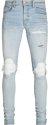 Amiri White Leather Underpatch Light Jeans