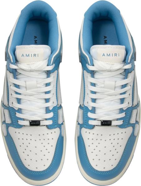 Amiri White Light Blue Low Top Skeleton Sneakers