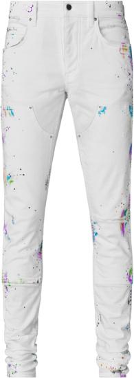 Amiri White Paintsplatter Workman Jeans