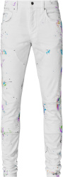 Amiri White Paintsplatter Workman Jeans