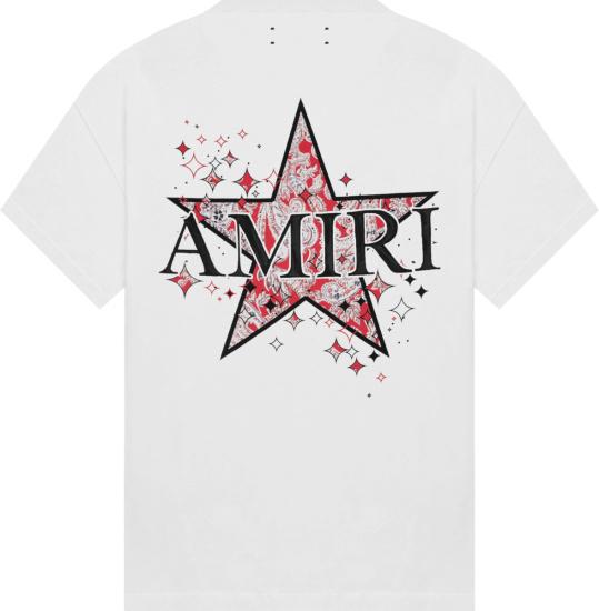 Amiri White Paisley Star T Shirt