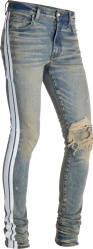 Amiri White Side Stripe Dirty Indigo Broken Jeans