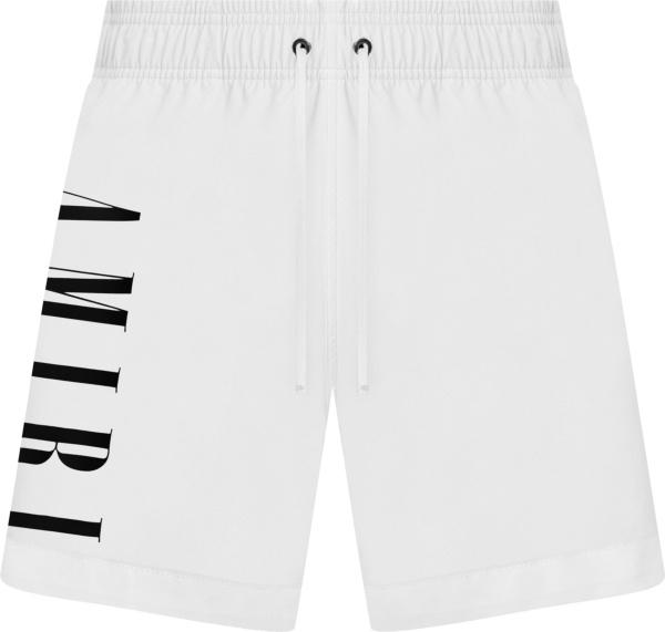Amiri White Vertical Logo Swim Shorts