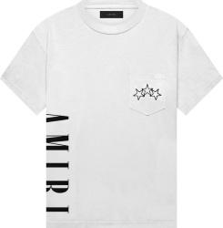 Amiri White Vertical Logo T Shirt