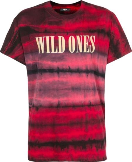 Amiri Wild Ones Print Red Tie Dye T Shirt