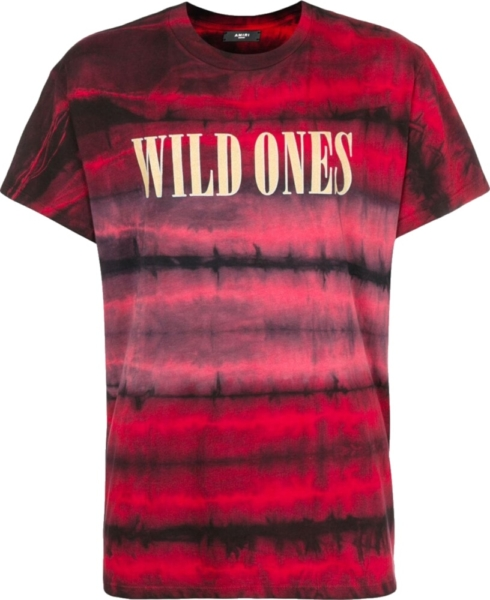 Amiri Wild Ones Print Red Tie Dye T Shirt