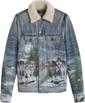 Amiri Wolf Print Grey Denim Jacket