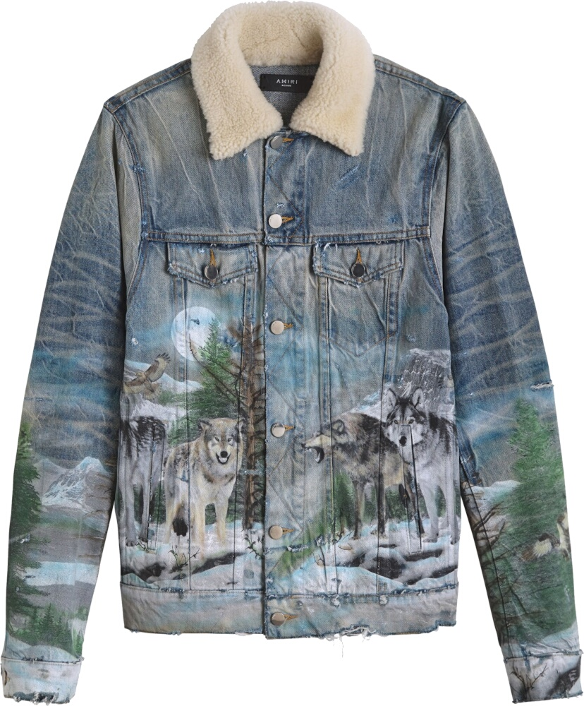 Amiri Wolf Print Grey Denim Jacket