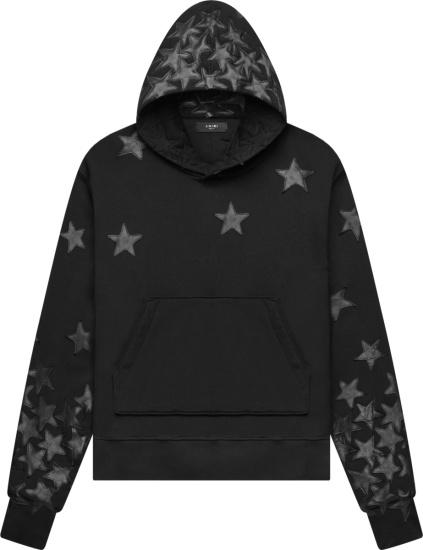 Amiri X Chemist Black Leather Star Patch Hoodie