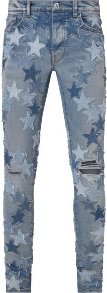 Amiri X Chemist Clay Indigo And Allover Denim Stars Jeans