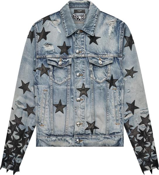 Amiri X Chemist Clay Indigo And Black Leather Star Denim Jacket