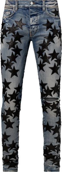 Amiri X Chemist Clay Indigo And Black Leather Star Jeans