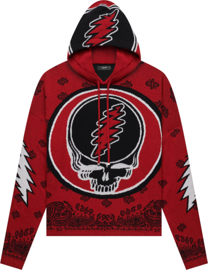 Amiri X Grateful Dead Red And Black Skull Hoodie
