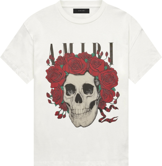 Amiri X Grateful Dead White Skull Rose T Shirt