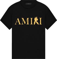 Amiri X Playboy Black And Gold Reverse Bunny Logo Print T Shirt