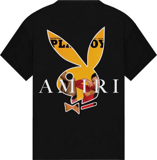 Amiri X Playboy Black And Yellow Magazine Bunny T Shirt