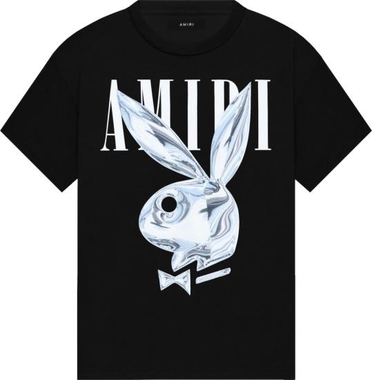 Amiri X Playboy Black Metallic Bunny Logo Print T Shirt