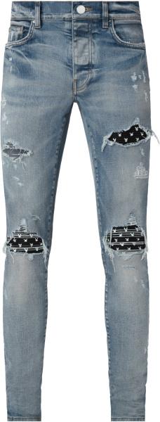 Amiri X Playboy Clay Indigo And Black Leahter Playboy Bunny Print Mx1 Jeans