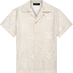 Amiri X Playboy White Lace Checkered Logo Shirt
