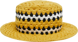 Amiri Yellow Crocheted Bucket Hat